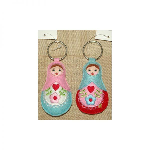 Babushka doll keyrings set of 2