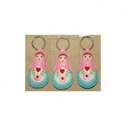 Babushka doll keyrings set of 3 PINK