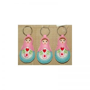 Babushka doll keyrings set of 3 PINK