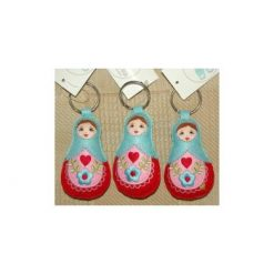 Babushka doll keyrings set of 3 Baby Blue