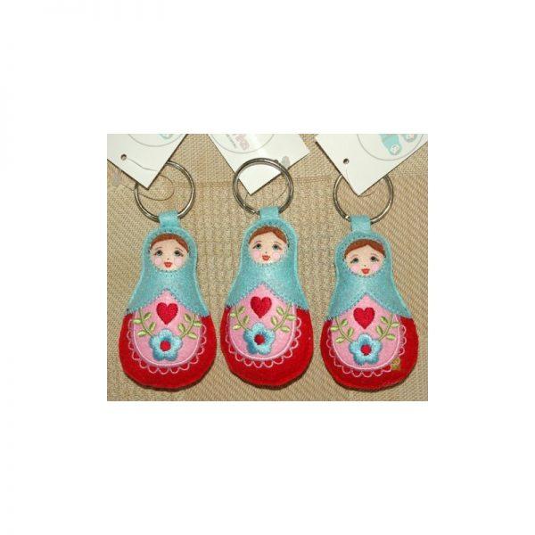 Babushka doll keyrings set of 3 Baby Blue