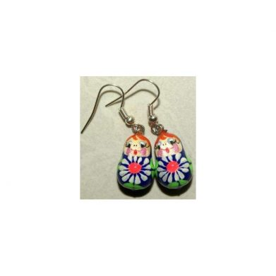 Earrings white flowers on blue and green
