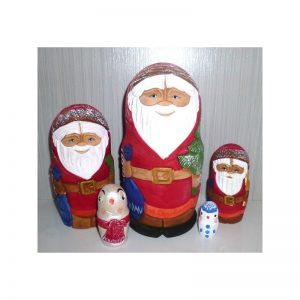 Carved Santas & Snowmen 5-set