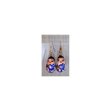 Earrings white blue flowers