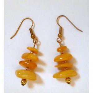 Earrings yellow amber