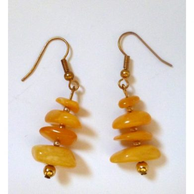 Earrings yellow amber