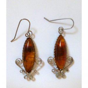 Earrings amber framed