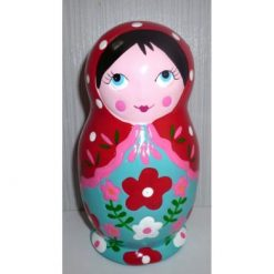 Money Box red scarf blue dress medium