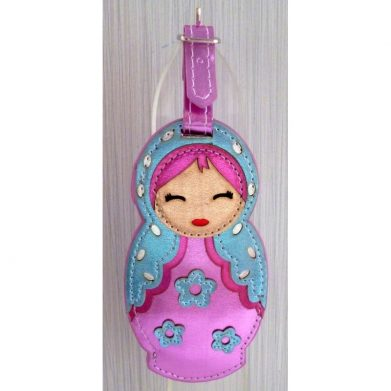 Luggage tag Babushka pink