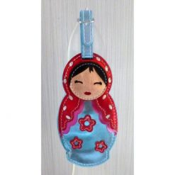 Luggage tag Babushka blue