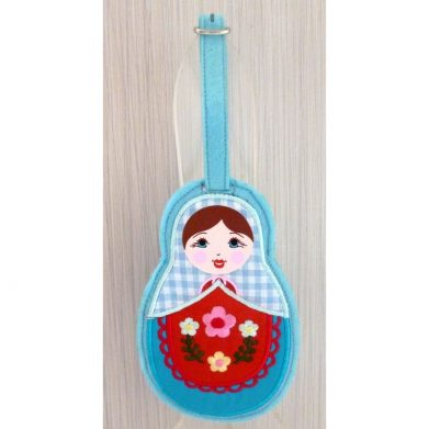Luggage tag Babushka blue scarf