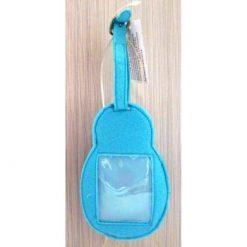 Luggage tag Babushka blue scarf