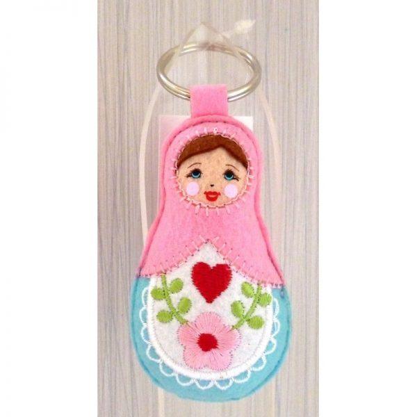 Babushka doll keyring PINK