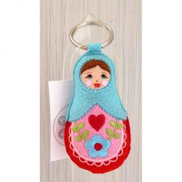 Babushka doll keyring BLUE