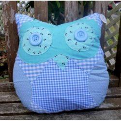 Owl Pillow - Blue
