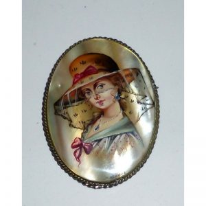 Brooch Russian Beauty on mother of pearl