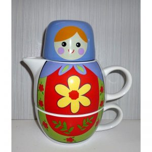 Babushka Tea Set blue scarf red dress