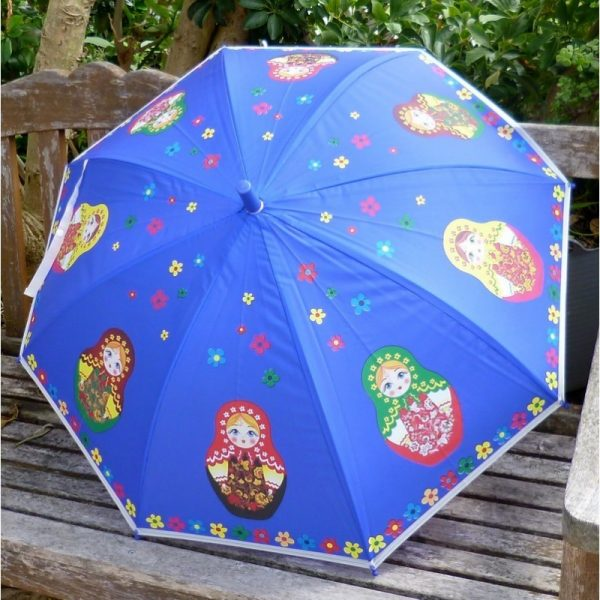 Babushka umbrella small in blue