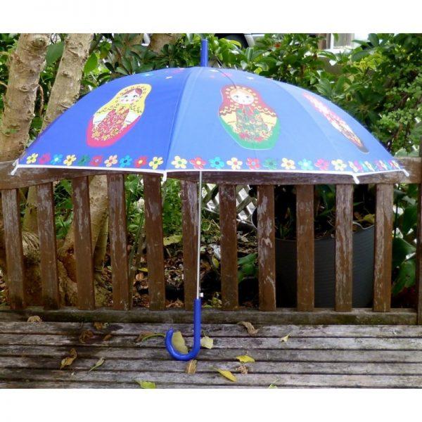 Babushka umbrella large in blue