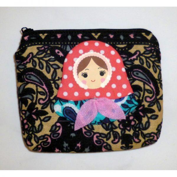 Large Coin purse Babushka in black