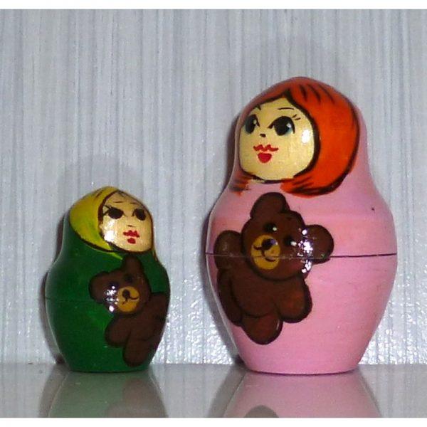 Village Girls with Teddy Bears green