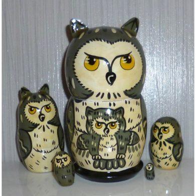 Funny dark grey Owl small