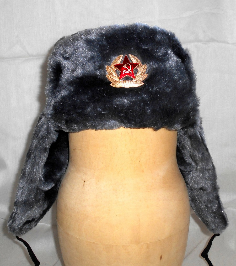 b86726418a83e Russian Winter military fur Hat Gray Red star - Dolls in Dolls ...